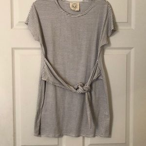 Striped front tie T-shirt dress